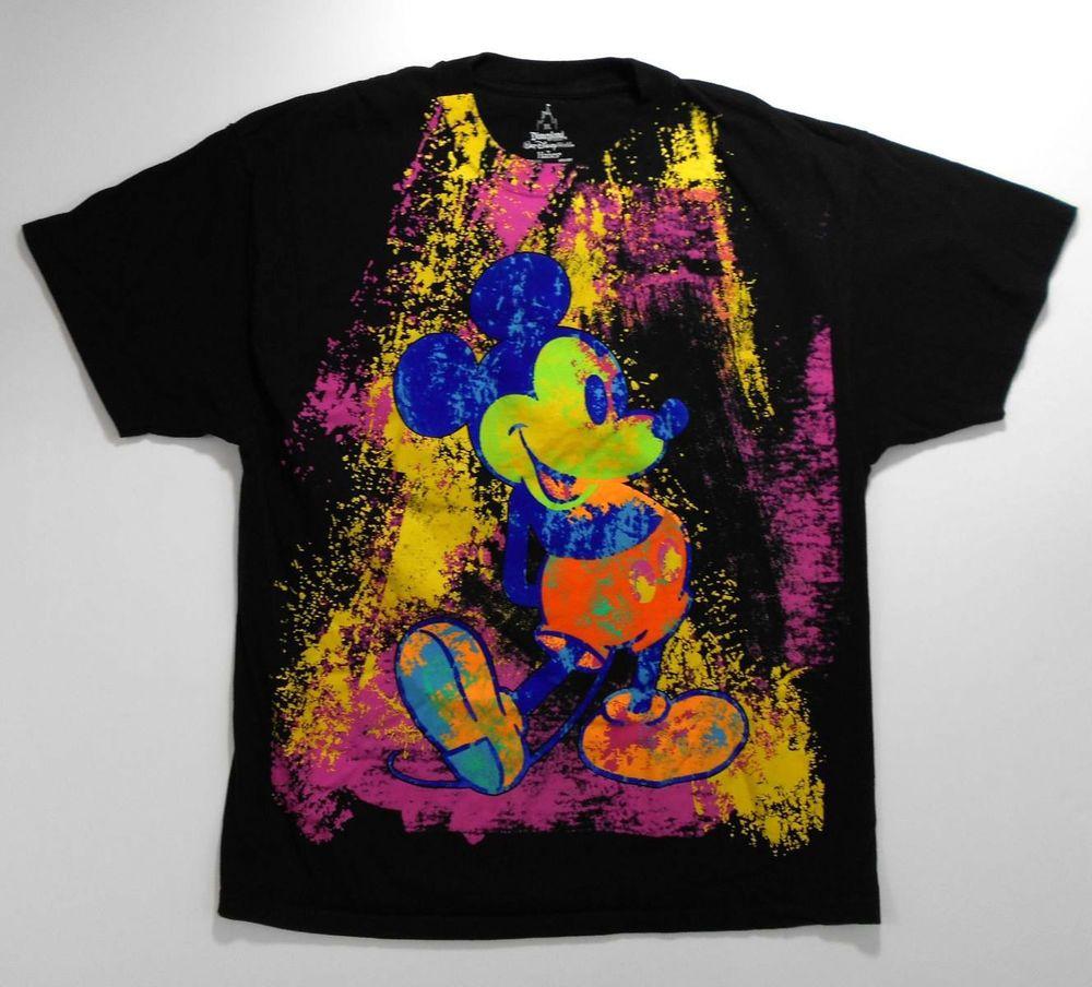 Disney Mickey Mouse t-shirt XL neon paint splatter black short ...