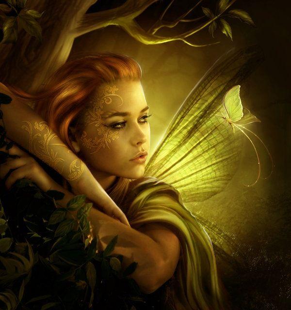 beauty, golden butterfly, fairy, wings,