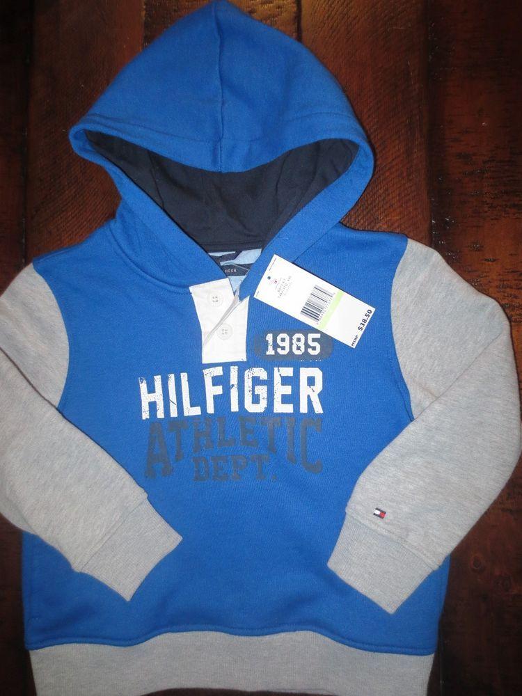 d42cf46fd3 NEW TOMMY HILFIGER BOY 4   4T HOODIE JACKET SWEATSHIRT BLUE  38 TAG   TommyHilfiger