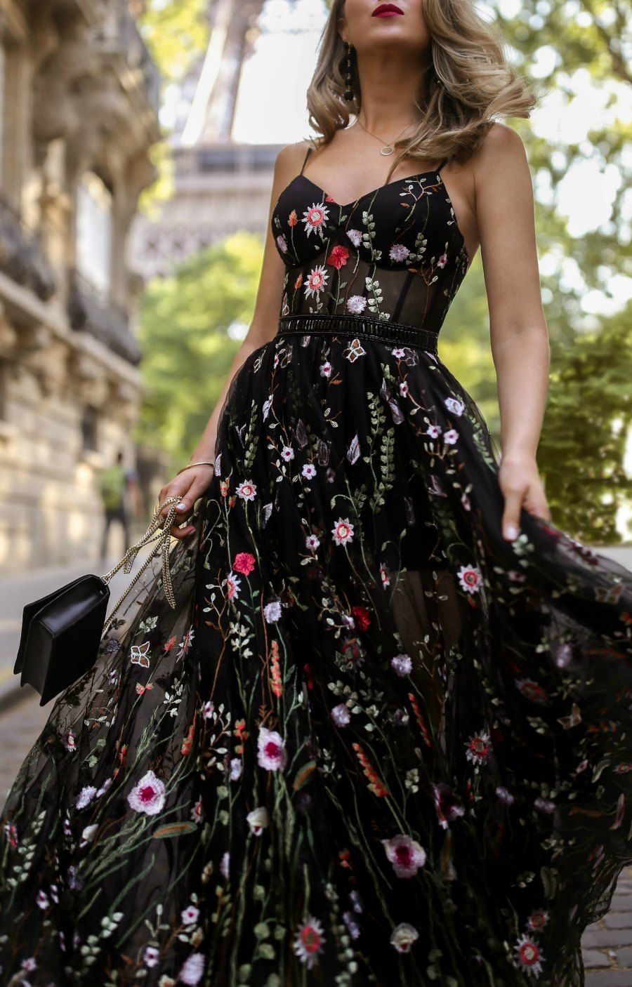 What To Wear To A Black Tie Wedding Long Black Floral Embellished Spaghetti Strap Dress Wi Black Tie Event Dresses Floral Dresses Long Black Lace Prom Dress [ 1406 x 900 Pixel ]