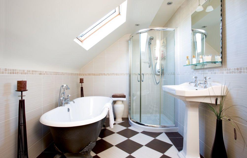 Loft Bathroom Freestanding Bath Checked Floor Bathroom Freestanding Loft Bathroom Loft Conversion