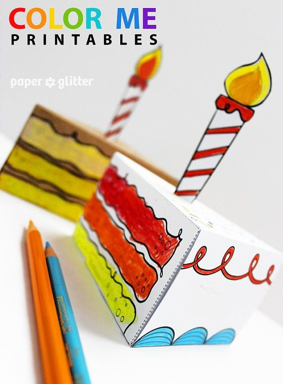 Birthday Paper Cake favor baking party box printables coloring sheet - food sign up sheet template