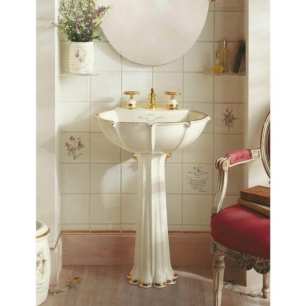 Kohler Anatole Pedestal Bathroom Sink In Biscuit With Prairie