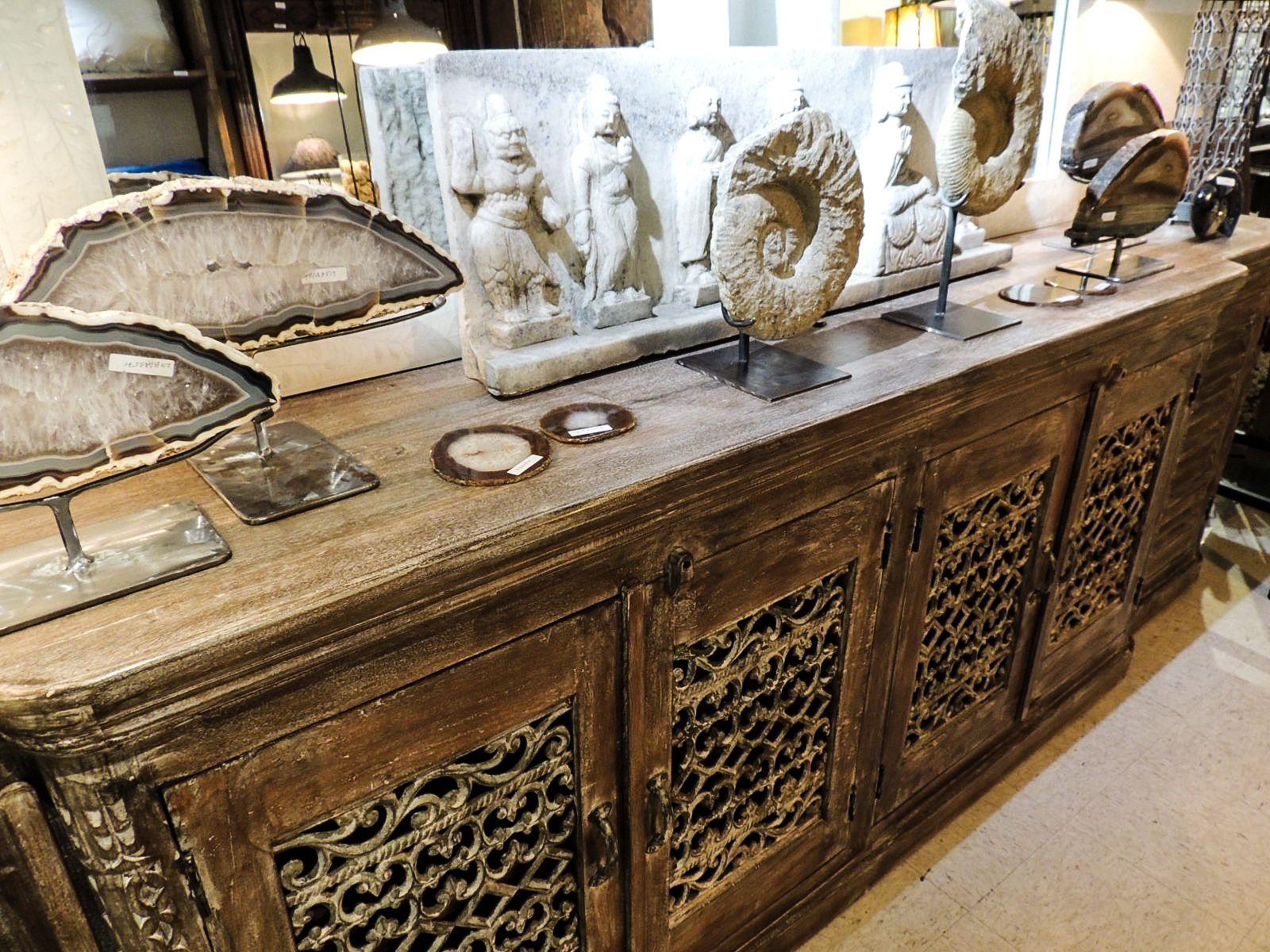 Buffet Display W/ Agate U0026 Stone Sculptures. #buffet #buffets #cabinets #