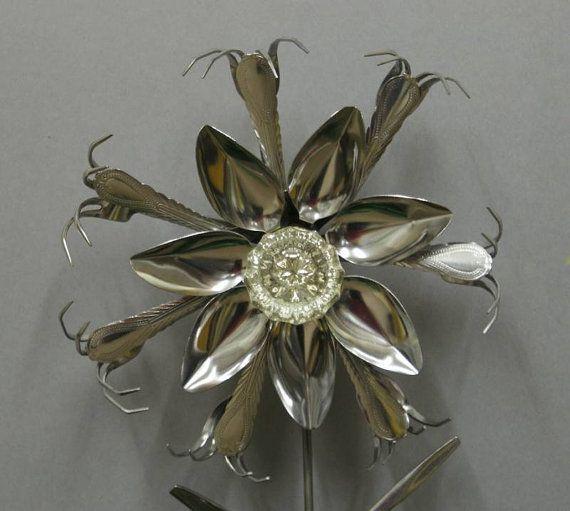 Silverware Art Glass Door Knob Stainless Silverware Flower Garden ...