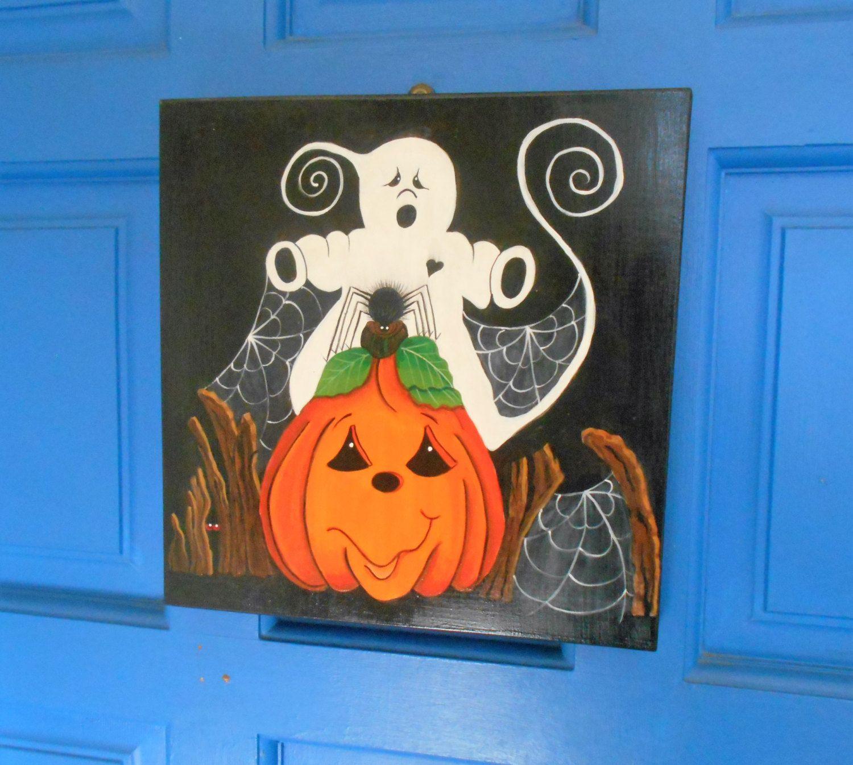halloween wall hanging spooky ghost pumpkin spider halloween plaque halloween decor. Black Bedroom Furniture Sets. Home Design Ideas