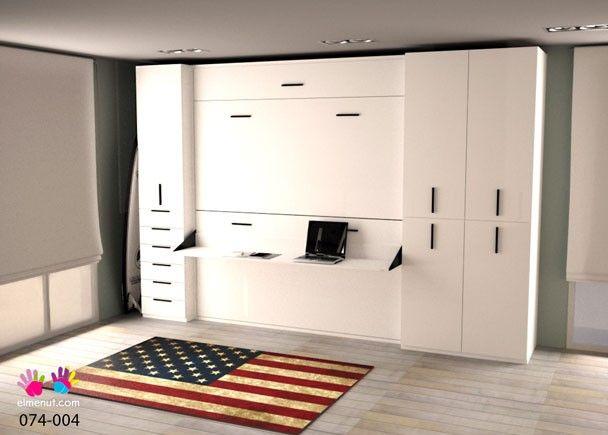 Habitaci n con litera abatible escritorio y armarios - Habitacion con litera ...