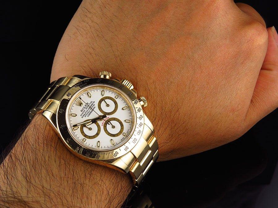 Mens 18k Yellow Gold Rolex Daytona White Dial 116528