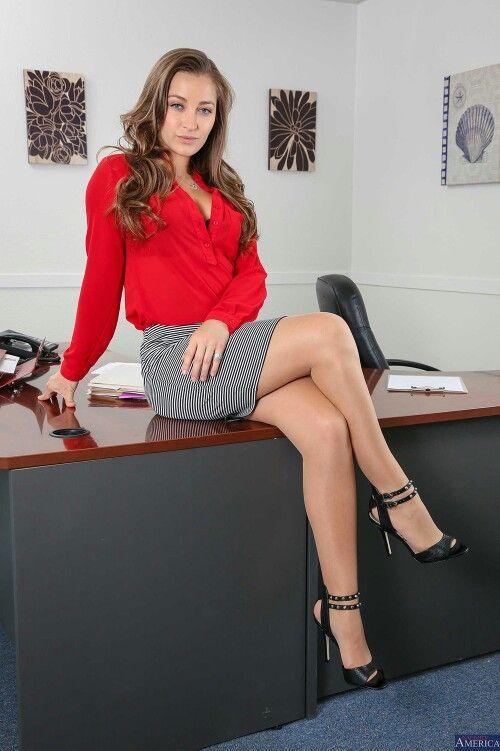 Femdom secretary stockings