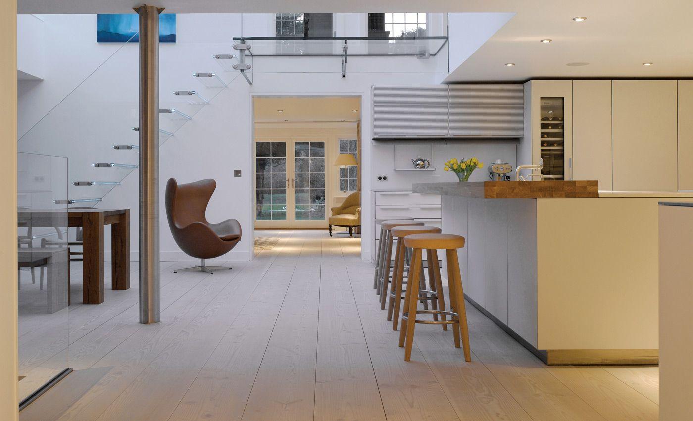 Moderne Offene Küche Mit Douglasie Dielenboden