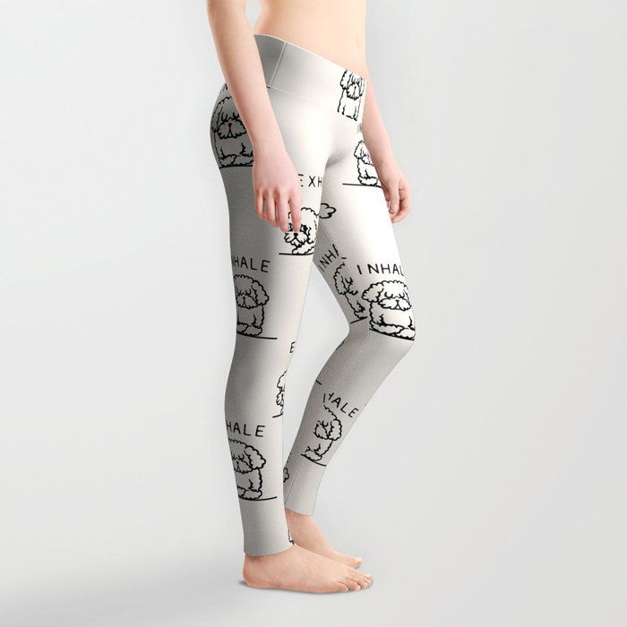 Inhale Exhale Toy Poodle Leggings by Huebucket - Medium