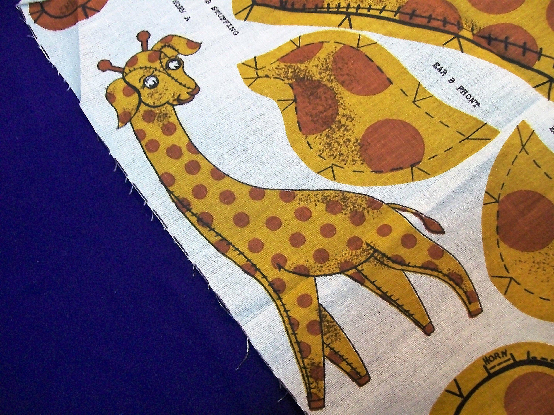 Giraffe Pattern, Cut Sew and Stuff Giraffe, Brown Giraffe, Make a Giraffe, Vintage Fabric, Giraffe Fabric
