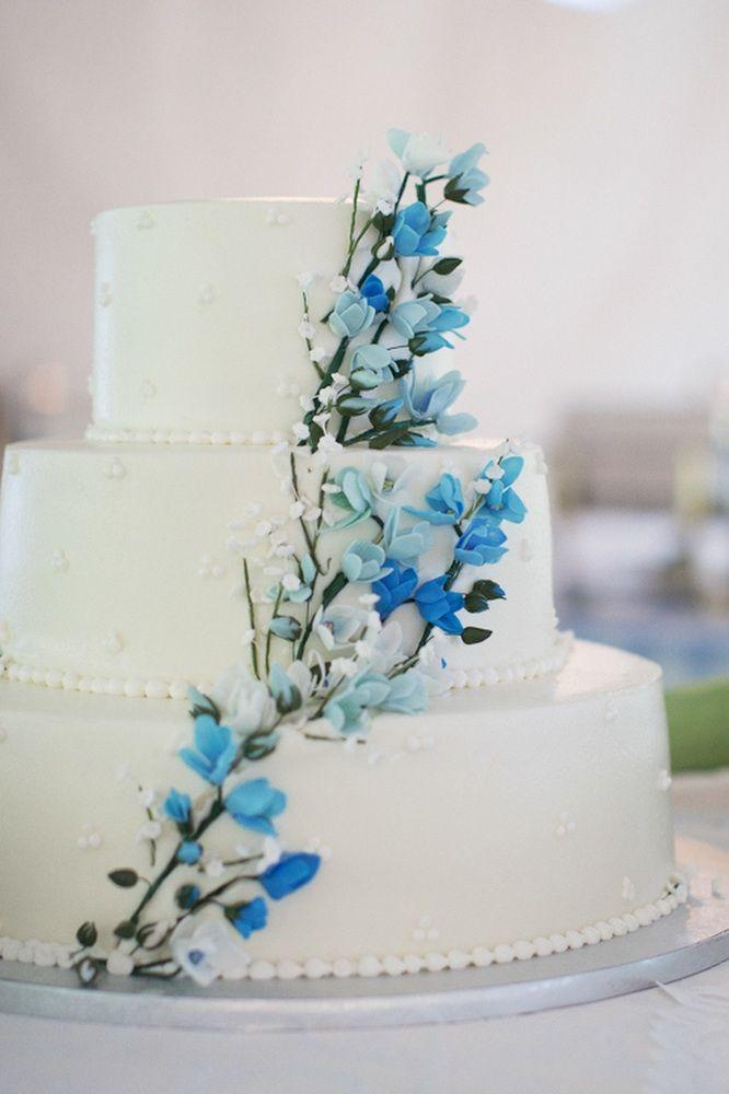 Elegant Wedding Cakes White Wedding Cake Blue Wedding Flowers