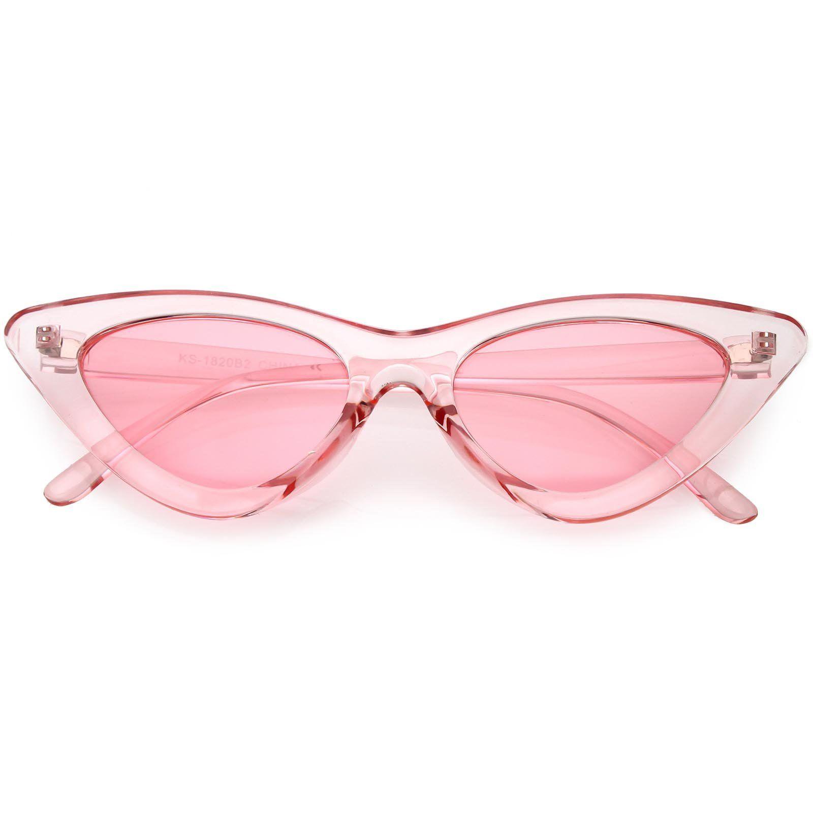 Womens Exaggerated Translucent Cat Eye Sunglasses Color Tinted Lens 48mm Cat Eye Sunglasses Colored Sunglasses Pink Sunglasses