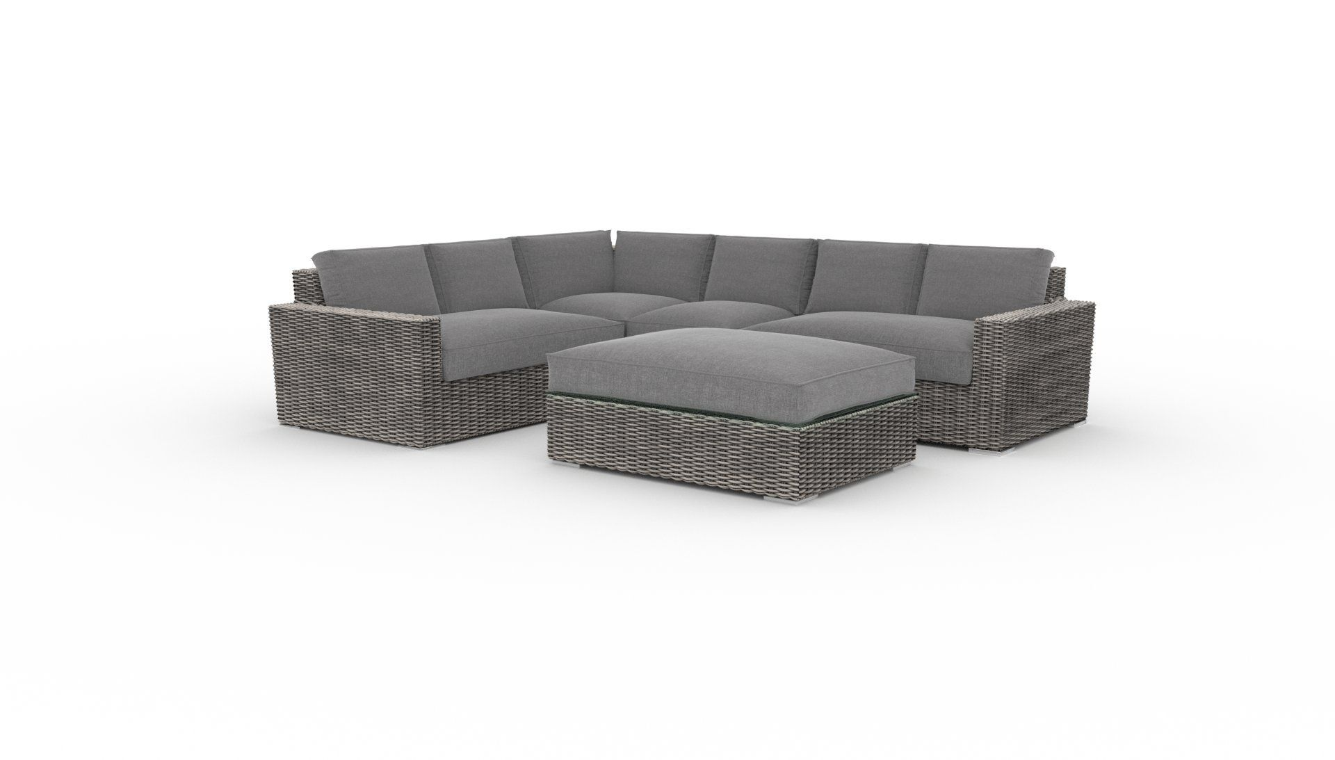 Sectional Set Turo Fr, 5Pcs Deep Seating Pe Wicker Rattan