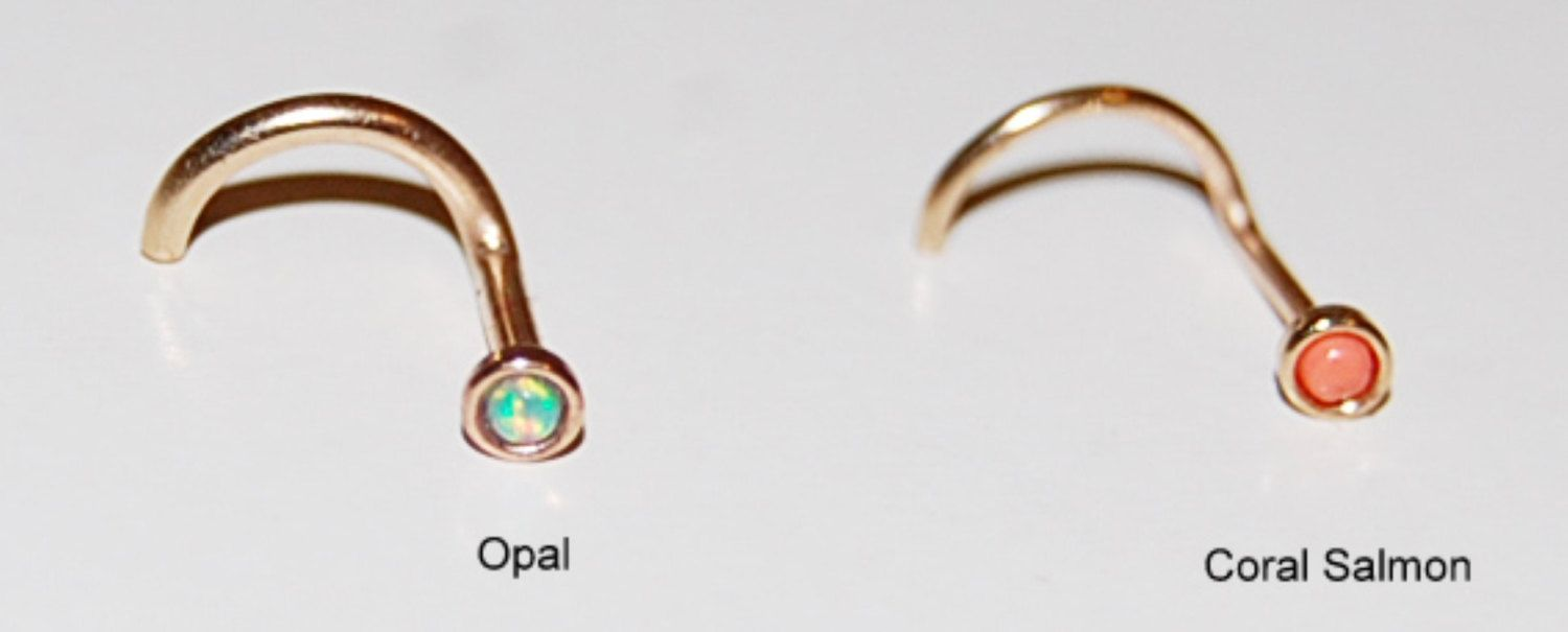 Nose piercing earrings  NOSE STUD nose ring   tiny earring Blue Opal u Coral Salmon set