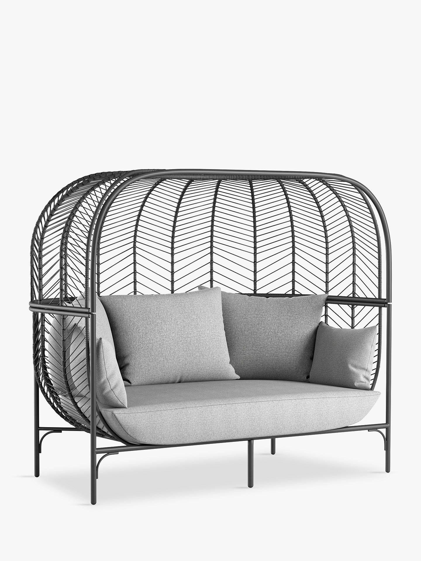 John Lewis & Partners Chevron 7-Seat Double Garden Sofa Pod, Black