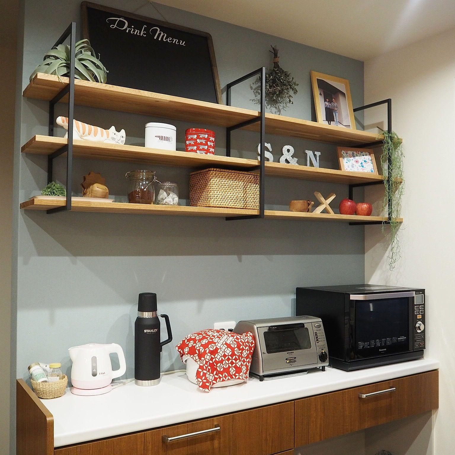 棚 塩系インテリア Woodone 飾り棚 キッチン背面 などのインテリア
