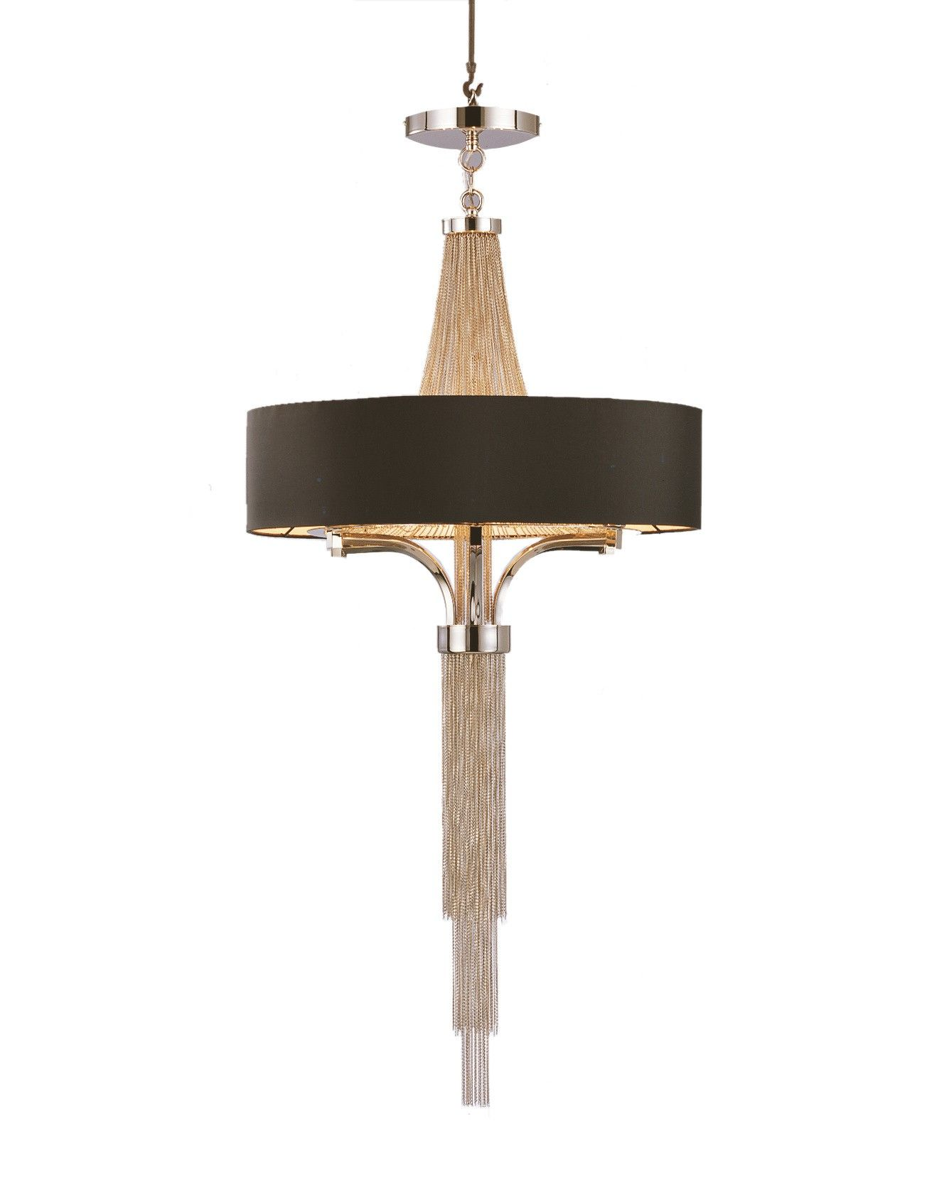 Langan Chandelier with Black Shade The Langan Chandelier is a