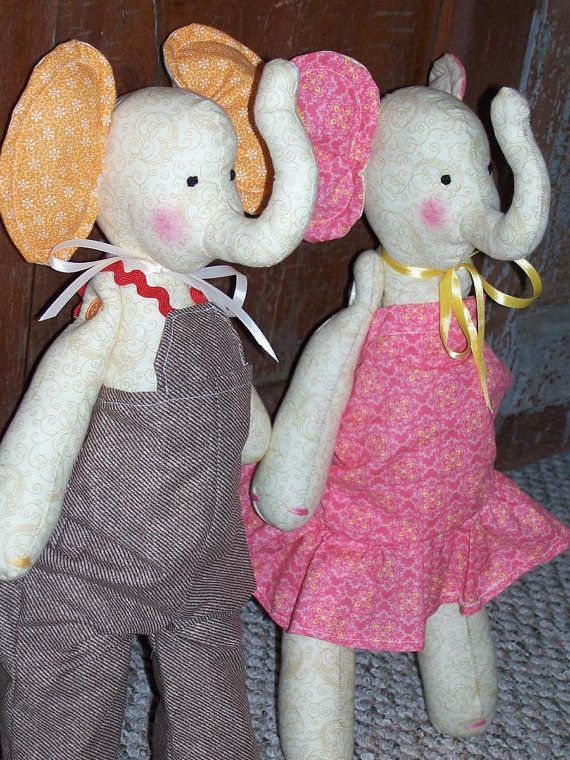 Stuffed  Elephant Animal Plush Elephant Set  by MadeSewLovely, $70.00