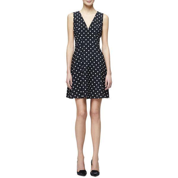 Carolina Herrera Polka-Dot Fit-&-Flare Dress (€1.955) ❤ liked on Polyvore featuring dresses, polka dot dress, sleeveless v neck dress, v neck fit and flare dress, sleeveless dress and stretch dresses