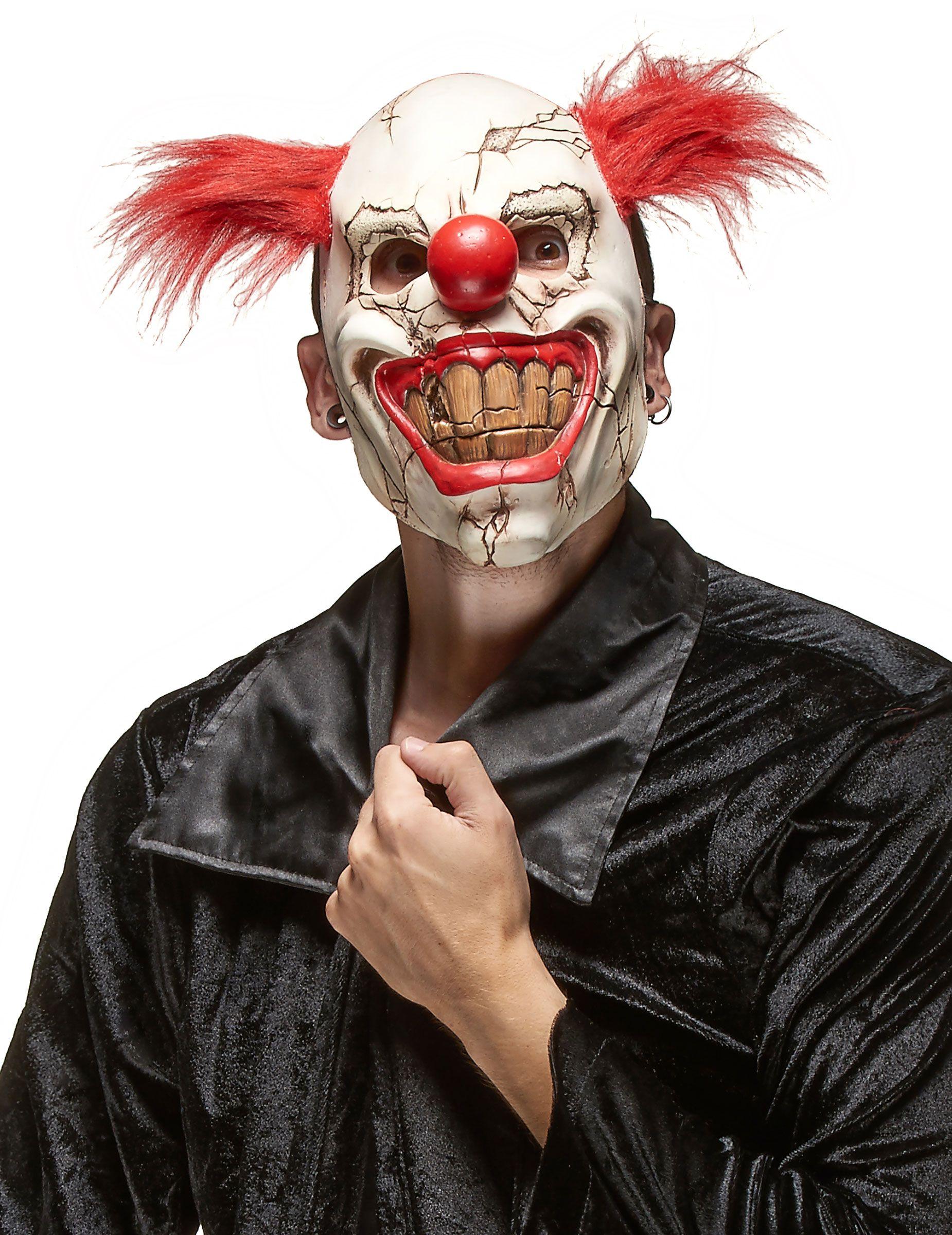 Maschera clown assassino malefico adulto Halloween  Questa maschera da  clown malefico per adulto è realizzata 776e21d81114