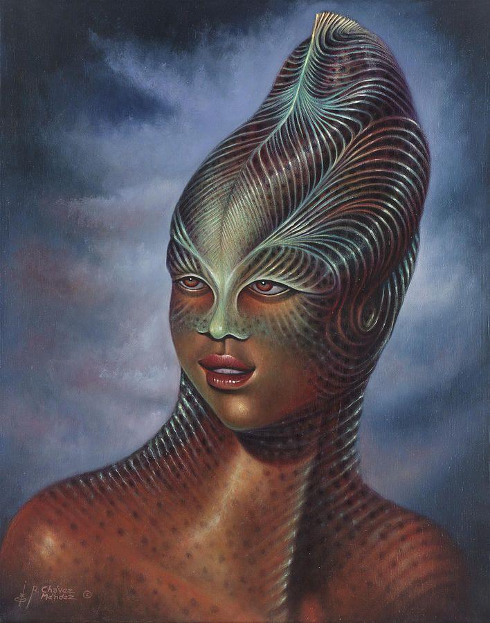 Sci-fi Painting - Alien Portrait I by Ricardo Chavez-Mendez
