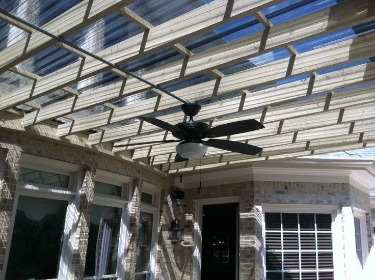 currigated roof pegola | Plastic roof and fan in the pergola