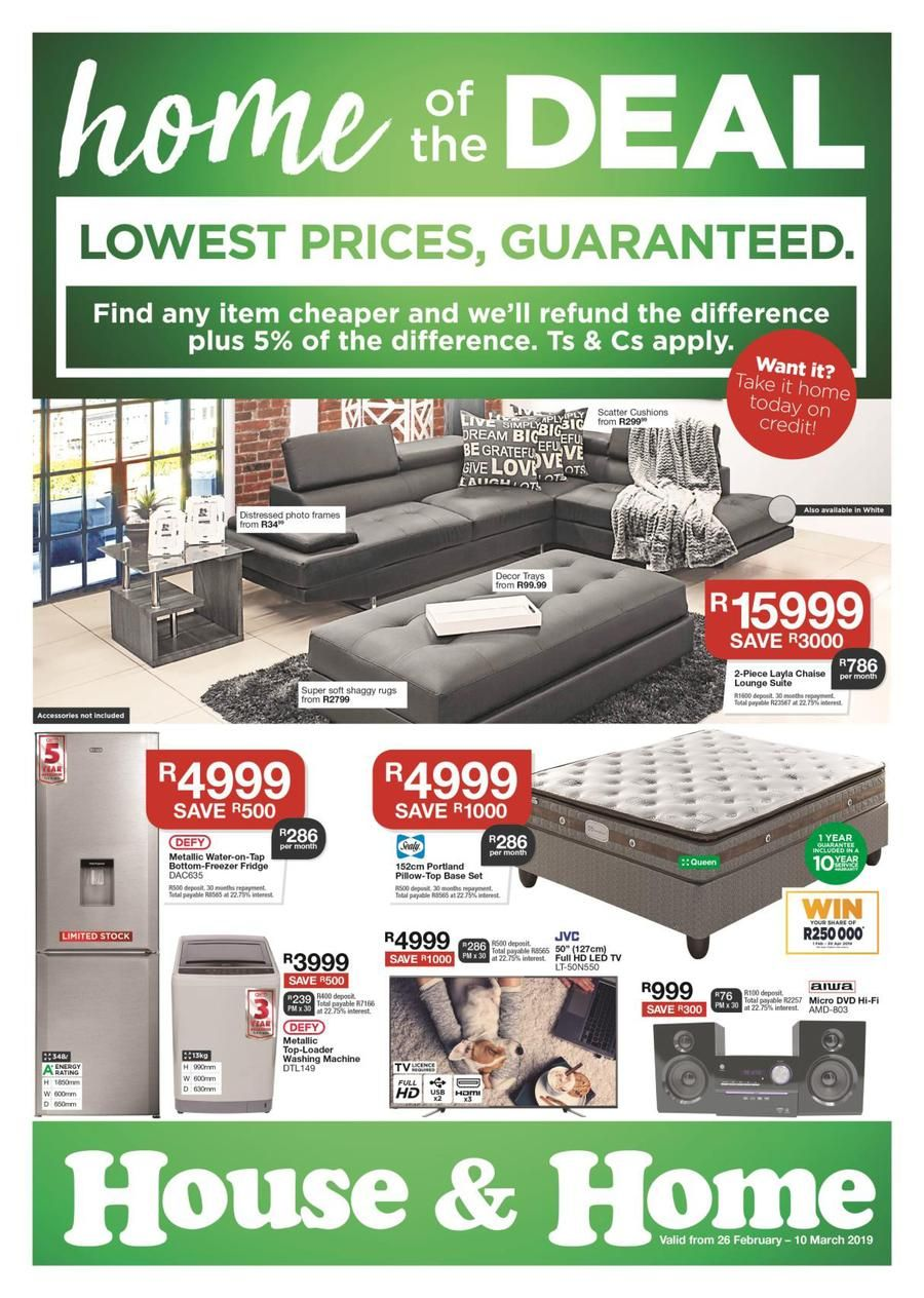 House Home Lowest Prices 26 Feb 10 Mar 2019 Page 1 Dining Room Suites Lounge Suites Led Tv