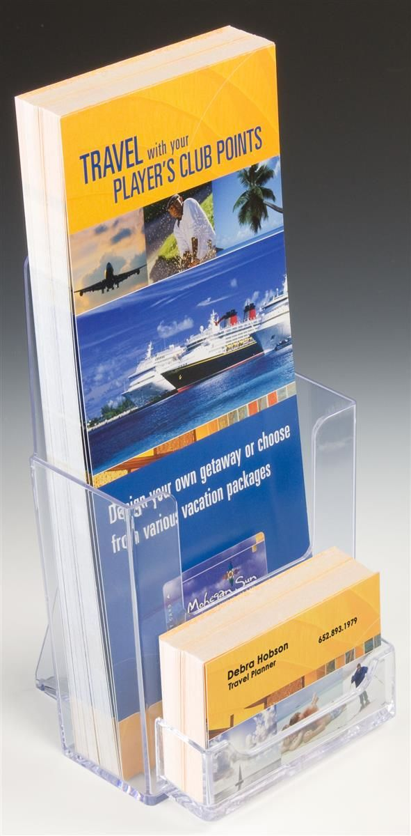 4 x 9 Brochure Holder for Tabletop, with Business Card Pocket ...