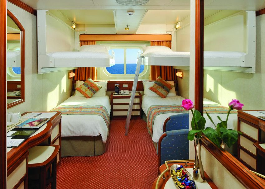 Inside cabin with upper berths oceana p o cruising ship for P o cruise bedrooms