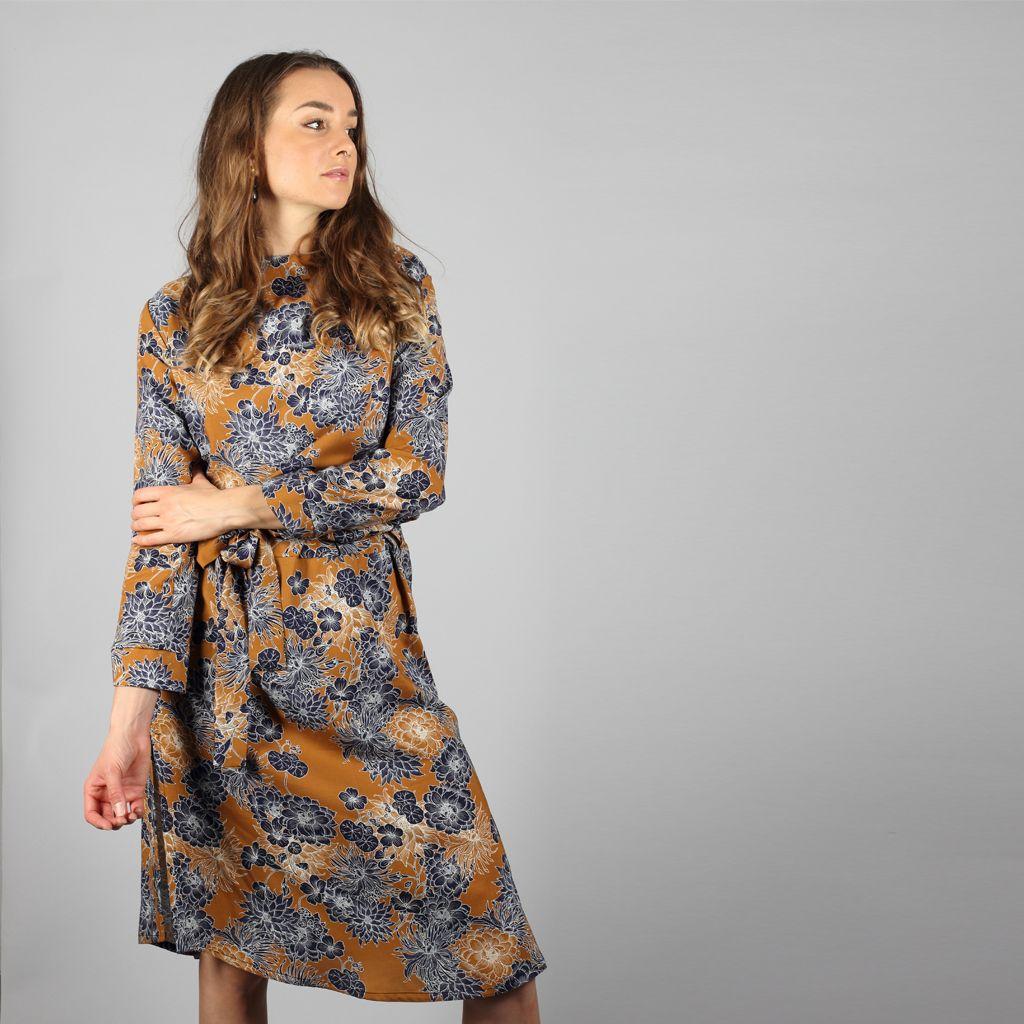 blumenkleid oana in ocker/blau | blumenkleid, kleid mit