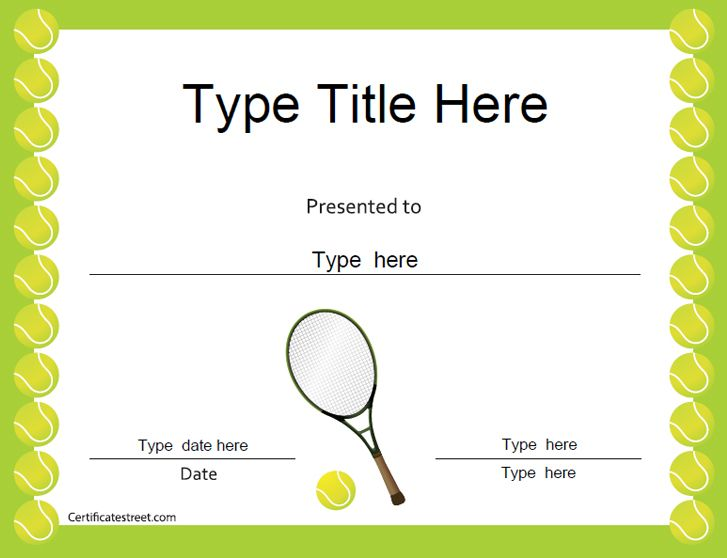 Sports Certificates Tennis Award Certificate Tennis Gifts Tennis Gift Certificate Template