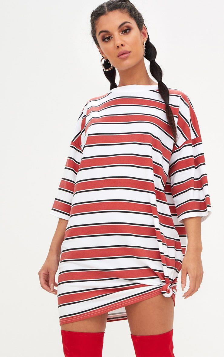 b0c1f771 Red Striped Oversized Boyfriend T Shirt Dress Slogan T Shirt Dress, Red T  Shirt Dress