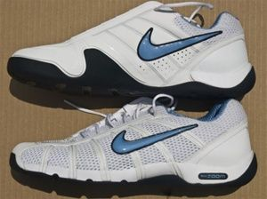 padre Ministro Mediante  Nike Air Ballestra Fencing Shoe - White with Light Blue Swoosh