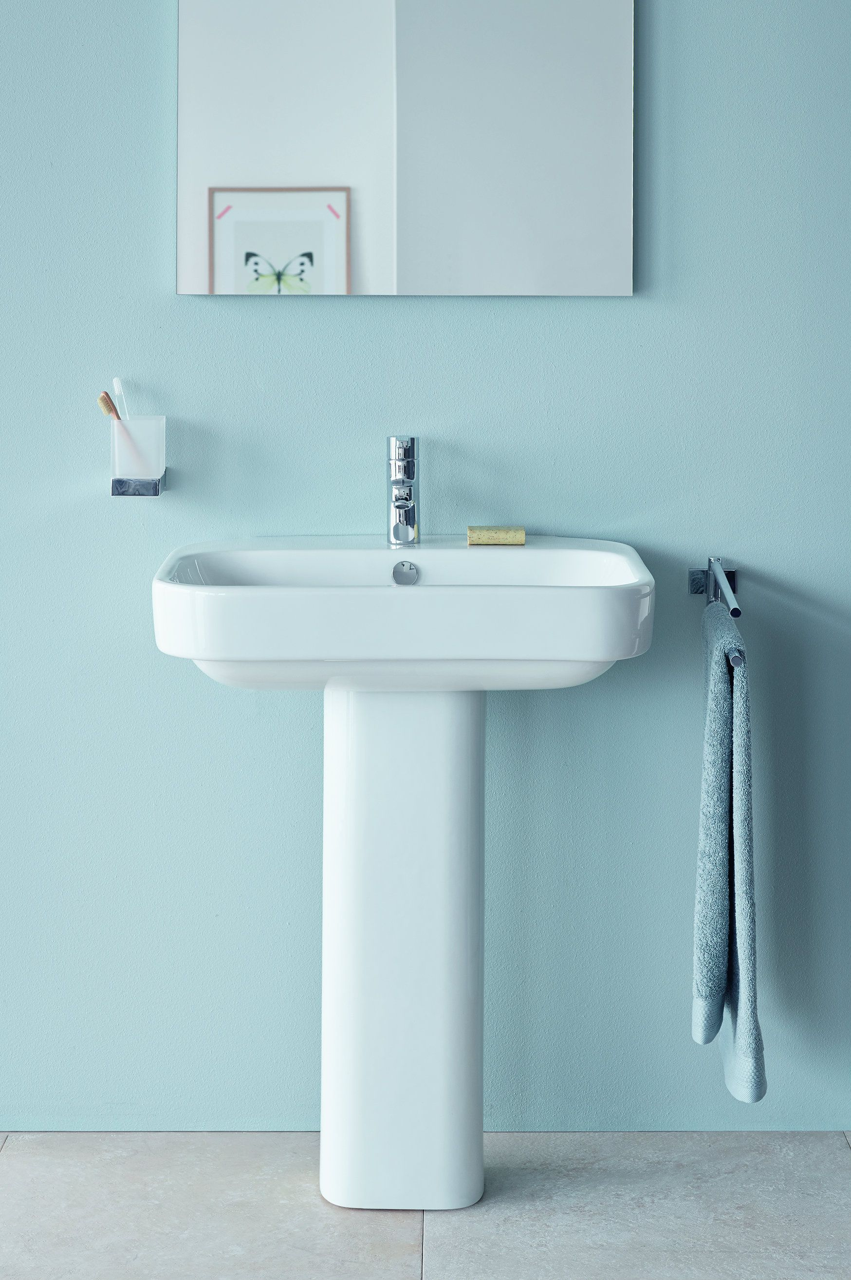 Happy D 2 Basin And Pedestal Happy D2 Basin Duravit With Taps