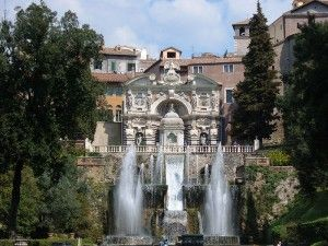 The Villa d'Este is a villa situated at Tivoli, near Rome, Italy. Listed as a UNESCO world heritage site, it is a fine example of Renaissance architecture and the Italian Renaissance garden. The Villa d'Este was commissioned by Cardinal Ippolito II d'Este, son of Alfonso I d'Este and Lucrezia Borgia and grandson of Pope Alexander VI.