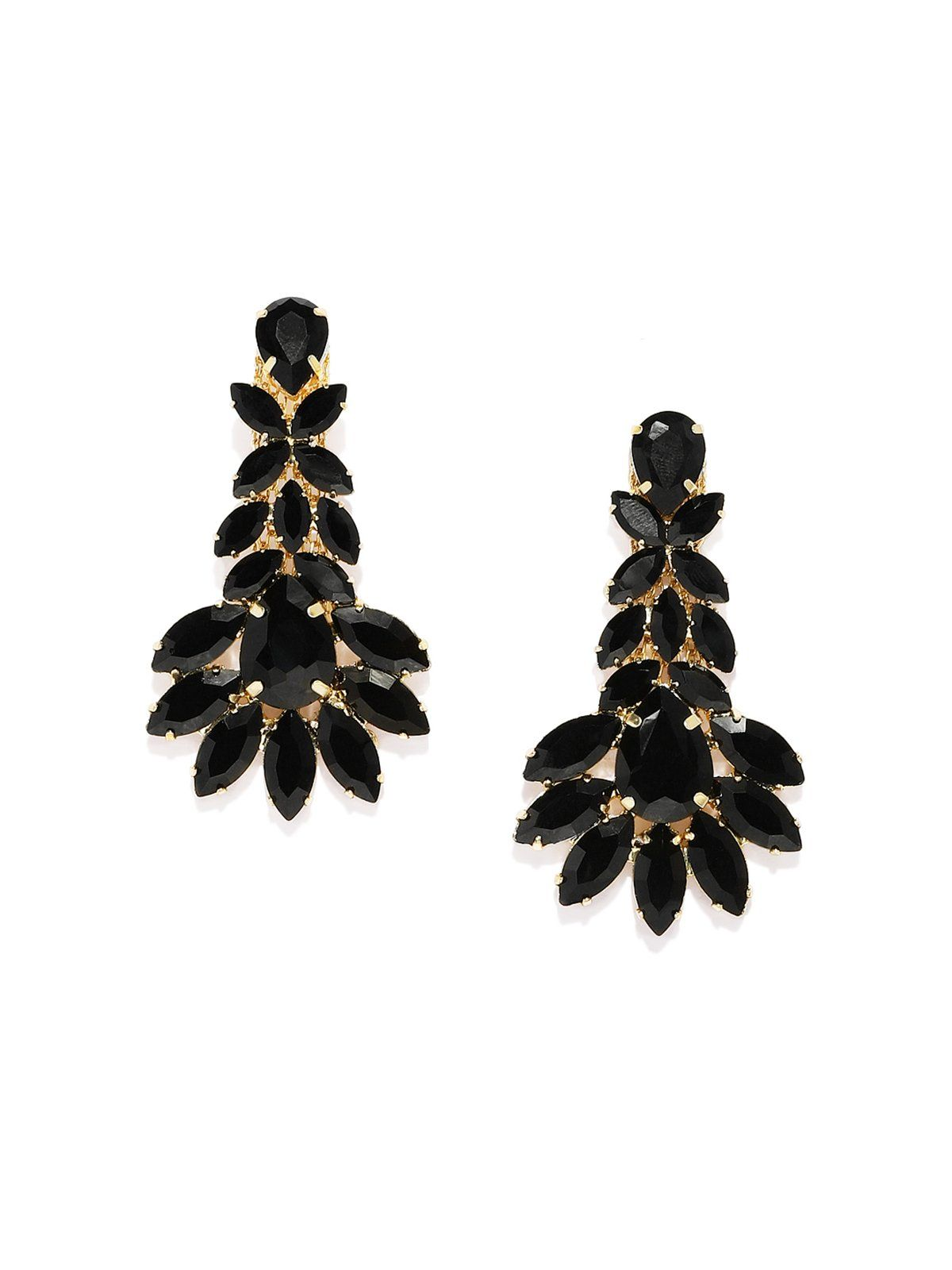 Fashion forward crystal shine black dangler earring zaveri pearls