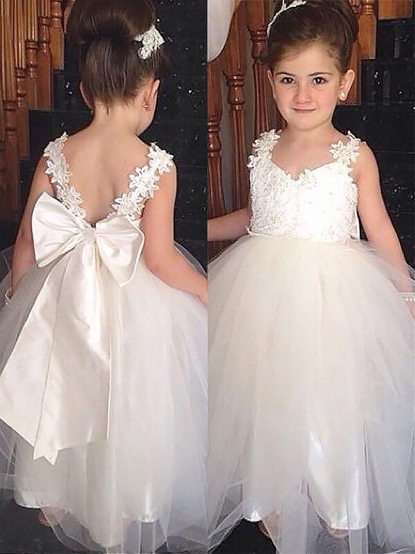 232e29793ccb Floor-Length Ball Gown Sweetheart Sleeveless Bowknot Tulle Flower ...