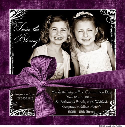 Double First Communion Invitation - Photo Berry Purple Twin - double first