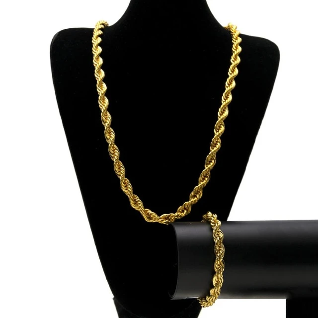 Hip Hop Jewelry Sets 10mm Rope Chain Long Necklace In 2020 Gold Chains For Men Black Hills Gold Jewelry Twisted Bracelet