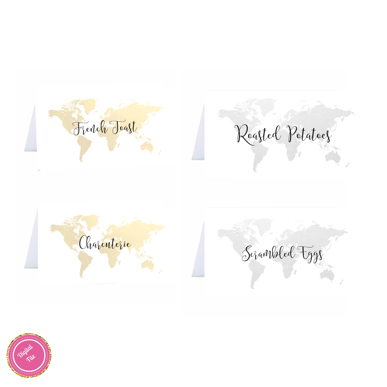 World Map Foldable Place Cards Travel Theme Name Cards Etsy Brunch Party Decorations Travel Theme Bridal Shower Travel Themes