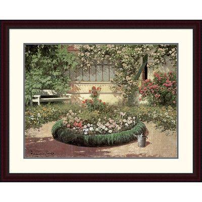 "Global Gallery 'A Sunlit Flower Garden' by Laszlo Neogrady Framed Painting Print Size: 30.29"" H x 38"" W x 1.5"" D"