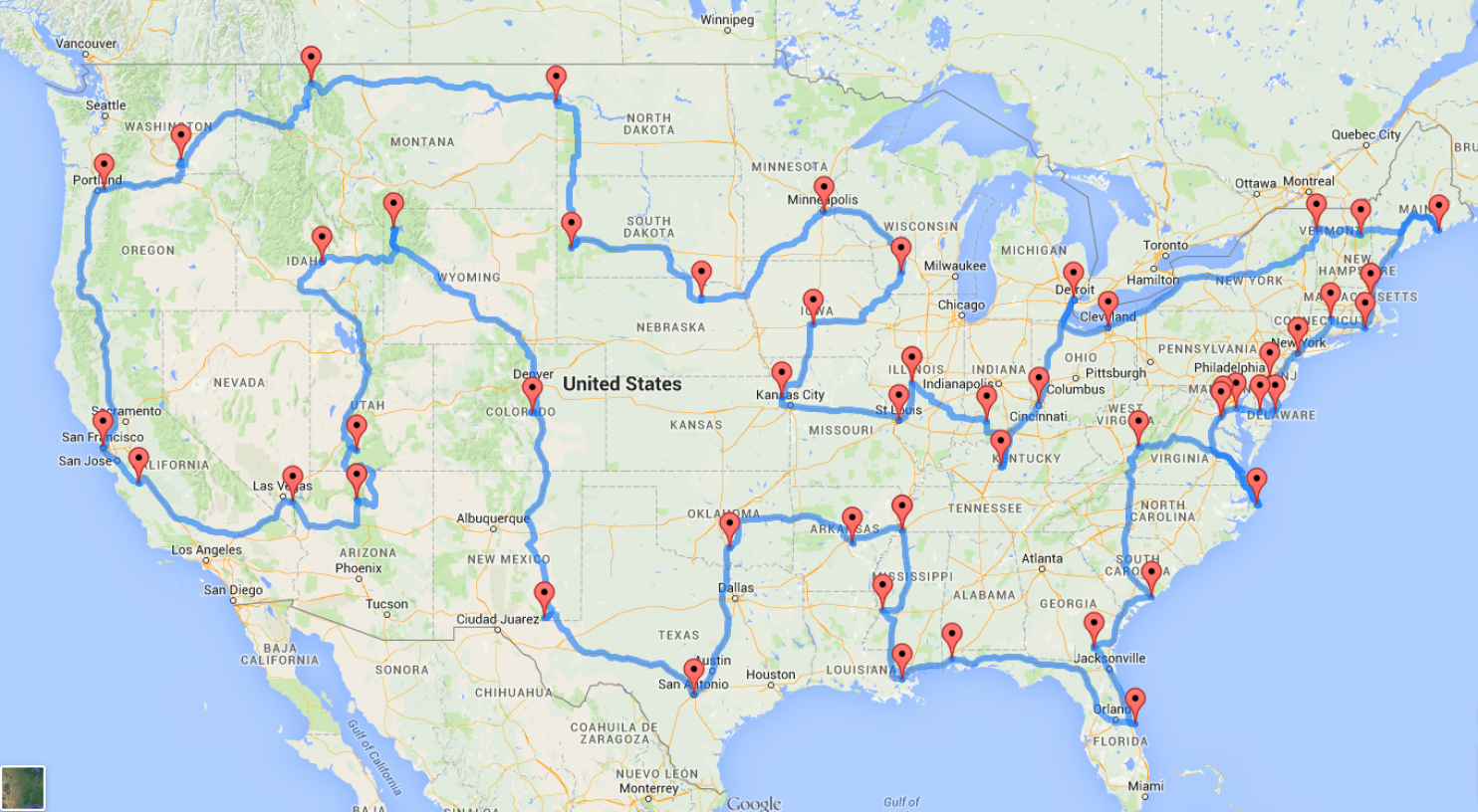 A Data Genius Computes The Ultimate American Road Trip Road Trips - Us national parks road trip map