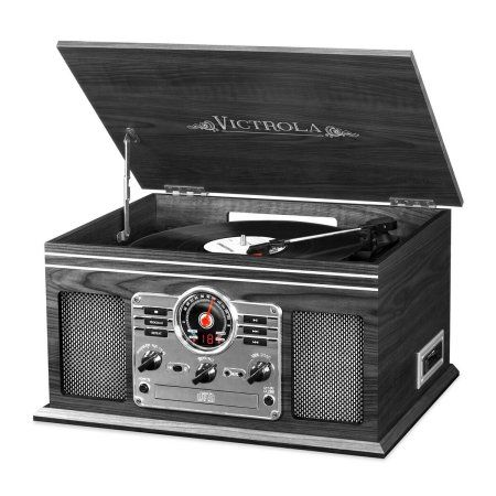 Victrola Wooden 6 In 1 Nostalgic Record Player With Bluetooth And 3 Speed Turntable Gra Bluetooth Record Player Turntable Record Player Record Player Speakers