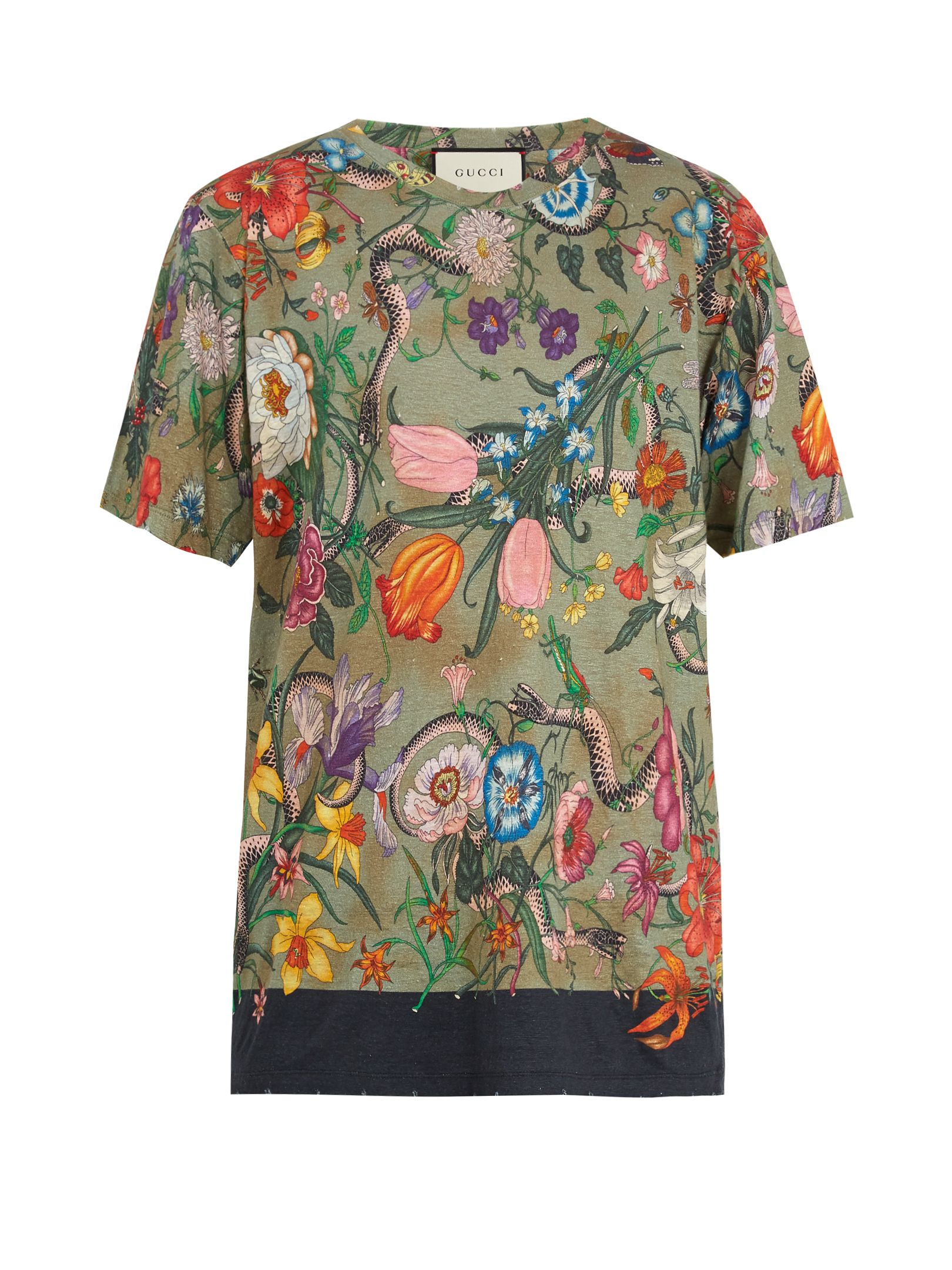d02ace9e Click here to buy Gucci Flora snake-print linen-jersey T-shirt at  MATCHESFASHION.COM