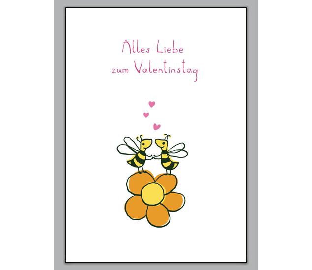 Valentinskarte Mit Verliebten Bienen: Alles Liebe Zum Valentinstag    Http://www.