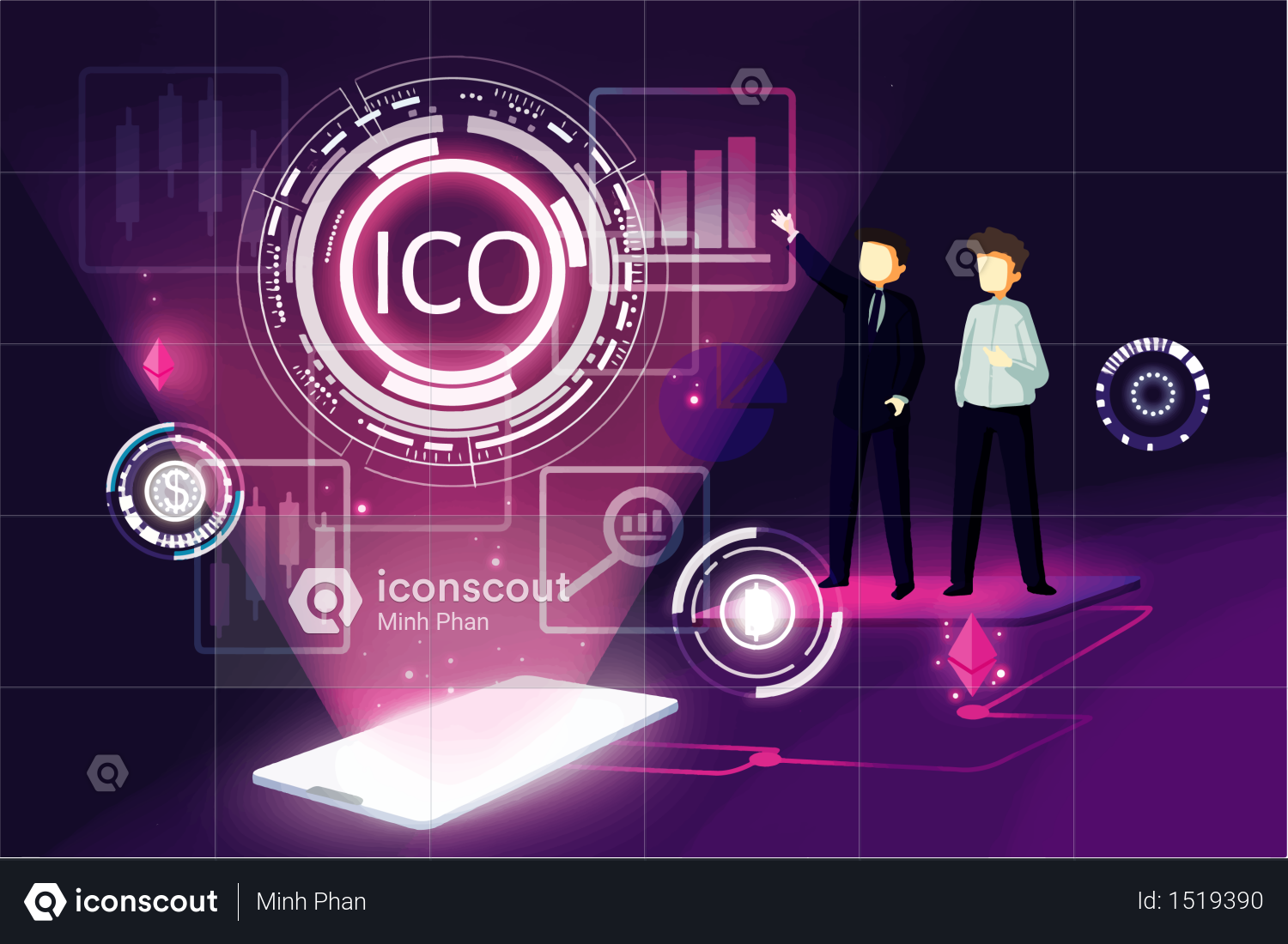 Premium Ico concept Illustration download in PNG & Vector