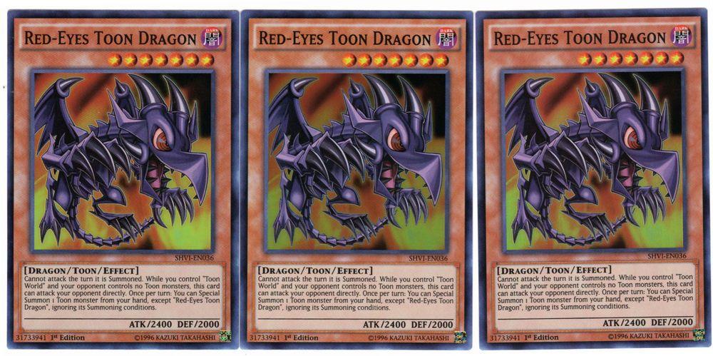3x redeyes toon dragon shvien036 super rare 1st edition