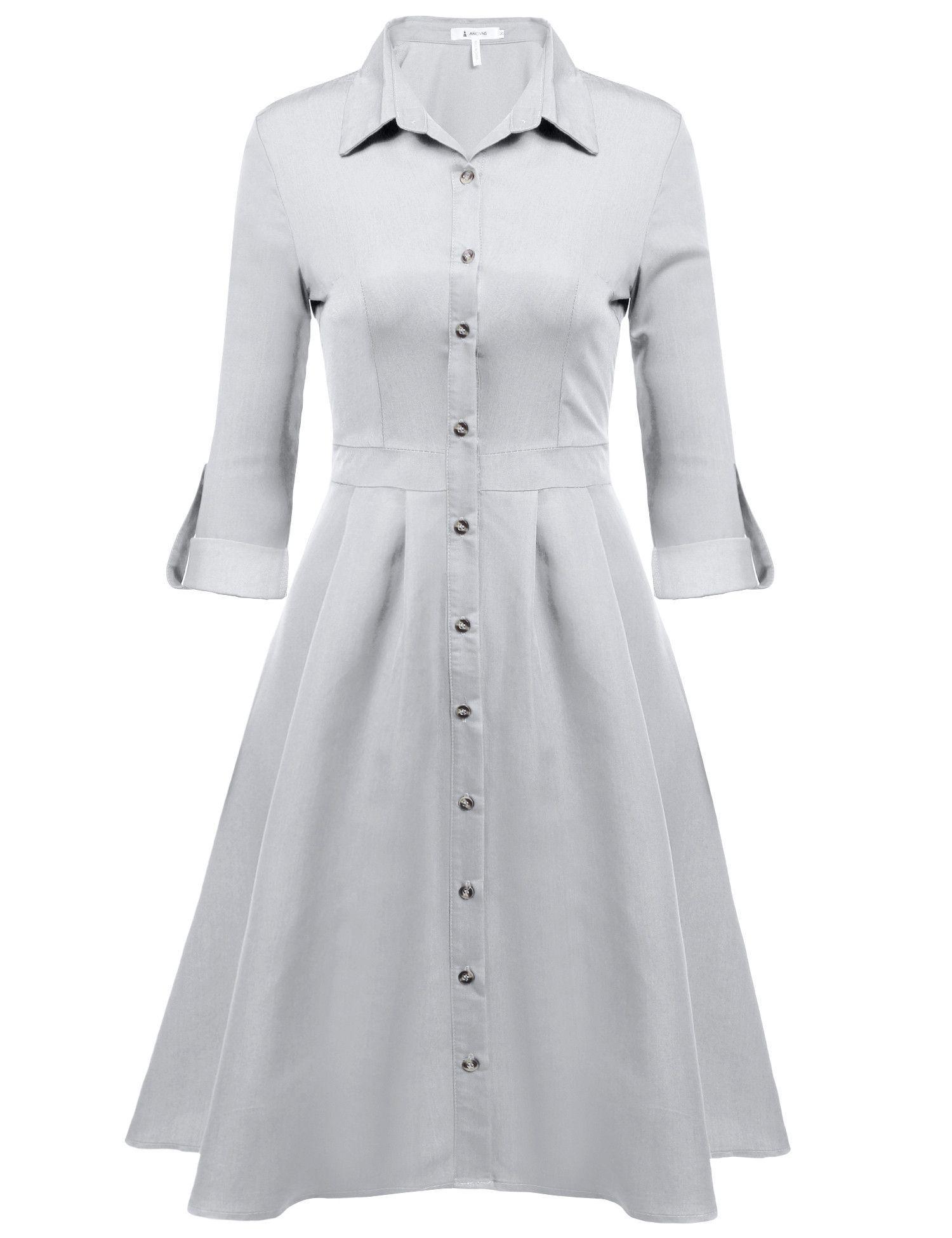Women casual long sleeve solid buttondown collar tunic swing dress